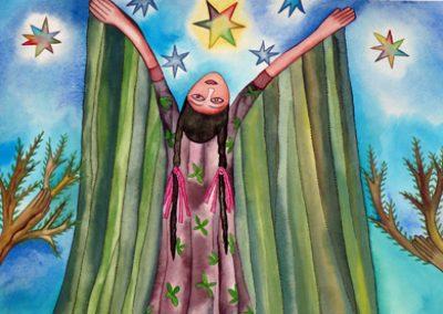 Mujer con Estrellas (Woman with Stars) 15.75 in x 23 in