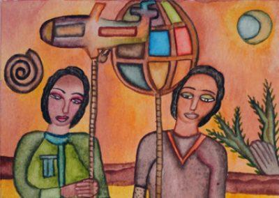 Niños con Faroles (Boys with Lanterns) 5.5 in x 8.25 in