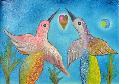Aves de Amor (Love Birds) 11.75 in x 11.75 in