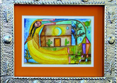 Mujer Voladora (Flying Woman) 8.75 in x 5.5 in, framed size 15.25 in x 12.5 in