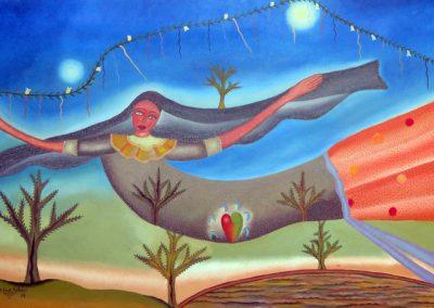 Mujer Voladora Oaxaqueña (Flying Woman of Oaxaca) 52.5 in x 23.25 in