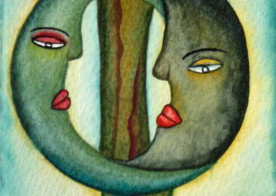 Las Dos Lunas (Two Moons) 5 in x 6.875 in